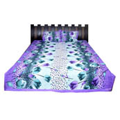Purple and Blue Printed Cotton Double Bed Sheet-0G67
