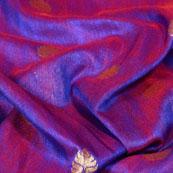Purple and Gold Leaf Design Brocade Silk Fabric-5432