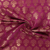 Purple and Golden Brocade Silk Fabric-8885