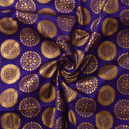 Purple and Golden Circular Design Silk Fabric Fabric-8375