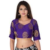 Purple and Golden Elbow Sleeve Silk Brocade Blouse-30196