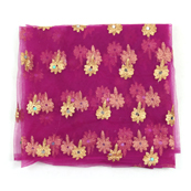 Purple and Golden Flower Embroidery Net Fabric-60891