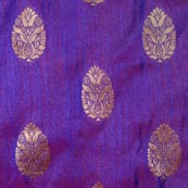 Purple and Golden Flower Pattern Brocade Indian Fabric-4273