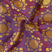 Purple and Golden Flower Pattern Brocade Silk Fabric-8019