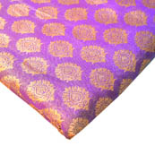 Purple-Light Pink and Golden Flower Design Brocade Silk Fabric-8207
