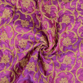 Purple and Golden Leaf Pattern Silk Paper Embroidery Fabric-60611