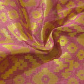 Purple and Golden Square Design Brocade Silk Fabric-8011