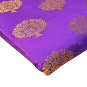 Purple and Golden Tree Pattern Brocade Silk Fabric-8213