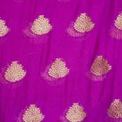 Purple and Golden Tree Pattern Chiffon Fabric-4351