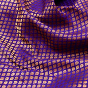 Purple and Golden leaf Design Brocade Silk Fabric-5332