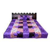 Purple and Peach Floral Printed Cotton Double Bed Sheet-0G60