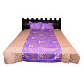 Purple and Peach Flower Printed Cotton Double Bed Sheet-0G78