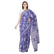 Purple and White Floral Pattern Cotton Block Print Saree-20085