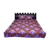 Purple and White  Print Cotton Double Bed Sheet -0T34