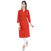Red 3/4 Sleeve Solid Cotton Kurti-3023