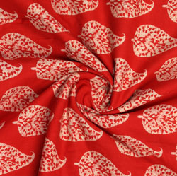 Red Beige Block Print Cotton Fabric-16075