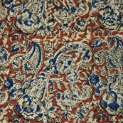 Red Beige and Blue Hand Painted Cotton Kalamkari Pattern Fabric
