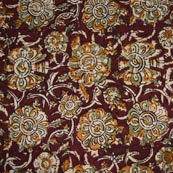 Red Beige and Green Flower Painted Cotton Kalamkari Fabric