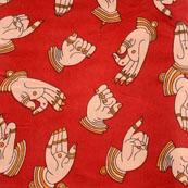 Red-Beige and Orange Hand Mudra Shape Kalamkari-Screen Fabric-5498