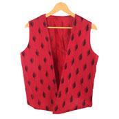 Red Black Sleeveless Ikat Cotton koti jacket-12245