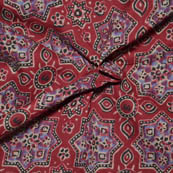Red-Black and Cream Floral Pattern Ajrakh Block Fabric-14005