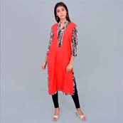 Red Black and White Rayon Kurti With Back Dart-22001
