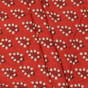 Red-Black and White Zig Zag Pattern Block Print Cotton Fabric-14332
