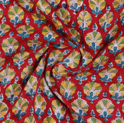 Red Blue Block Print Cotton Fabric-16188