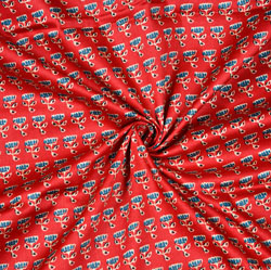 Red Blue Floral Cotton Fabric-28608
