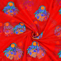 Red Blue Floral Net Embroidery Fabric-19096