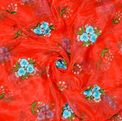 Red Blue Flower Organza Embroidery Fabric-22228