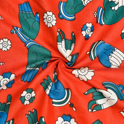 Red Blue Hand-Mudra Cotton Kalamkari Fabric-28016