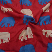 Red-Blue and Cream Elephant Design Kalamkari Manipuri Silk-16152