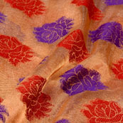 Red-Blue and Golden Floral Design Brocade Silk Fabric-5381
