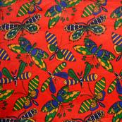 Red-Blue and Green Butterfly Shape Cotton Kalamkari Fabric-5532