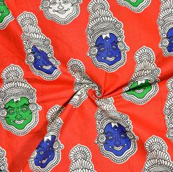 Red Blue and Green Kuchipudi Cotton Kalamkari Fabric-28019