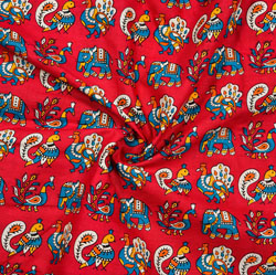 Red Blue and WHite Animal Cotton Kalamkari Fabric-28006