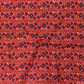 Red-Blue and White Floral Pattern Block Print Cotton Fabric-14309