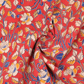 Red-Blue and White Flower Kalamkari Cotton Fabric-10161