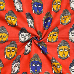 Red Blue and Yellow Buddha Cotton Kalamkari Fabric-28020