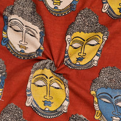 Red Blue and Yellow Buddha Cotton Kalamkari Fabric-28040