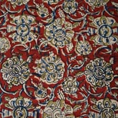 Red Blue and Yellow Flower Hand Painted Kalamkari Cotton Fabric