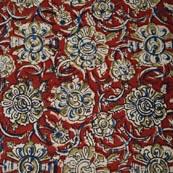 Red Blue and Yellow Flower Hand Painted Kalamkari Cotton Fabric