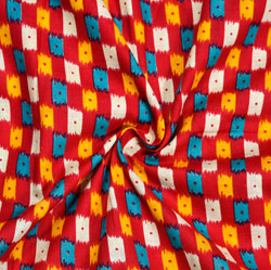Red Blue and Yellow Ikat Cotton Kalamkari Fabric-28008