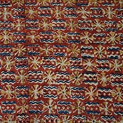 Red Blue and Yellow Kalamkari Cotton Fabric by the Yard