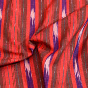 Red-Blue and maroon lining ikat fabric-5079