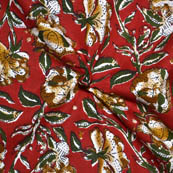 Red-Brown and Green Floral Design Kalamkari Print Cotton Fabric-14085