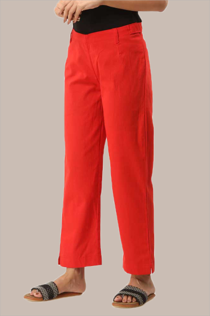 Red Cotton Ankle Length Pant-33720