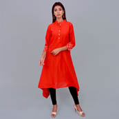 Red Cotton Kurti With Asymetric-22011