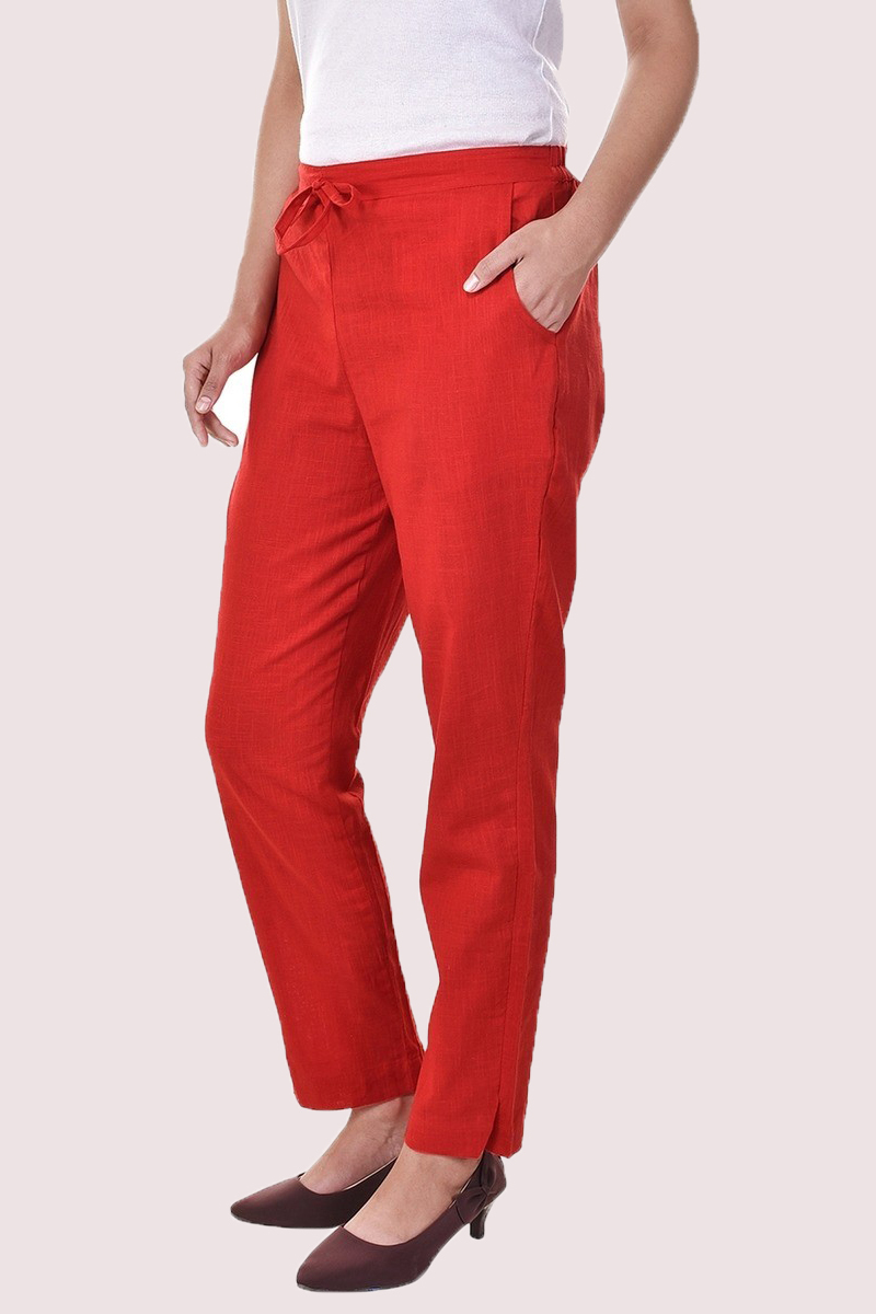 Red Cotton Slub Solid Women Pant-33287